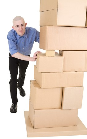 boxy: Man pushing heap from cardboard boxes on white Stock Photo