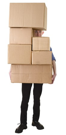 stockman: Man hold pile cardboard boxes on white