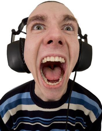 madman: The person in ear-phones shouting at a white background