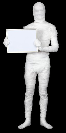 awful: Mummy with frame on the black background