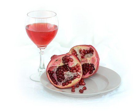 stilllife: Still-life with a glass of wine and a red pomegranate