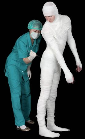 funny doctor: Doctor to give an injection on bandaged patient