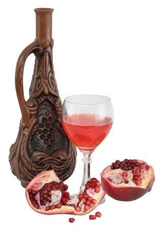 stilllife: Still-life with a glass of wine, bottle and a red pomegranate