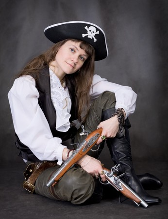 brown leather hat: Girl - pirate on black with two pistols in hands