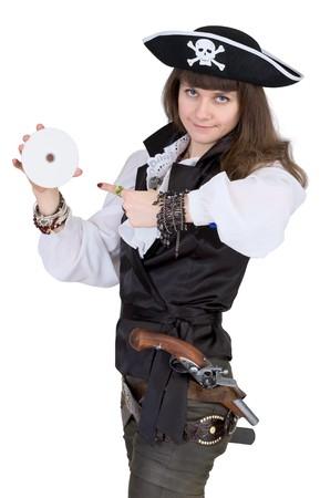 mujer pirata: Pirata - mujer con disco aisladas sobre fondo blanco