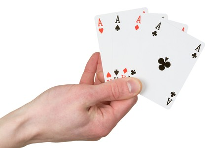 Four ace on the hand on the white background Stock Photo - 4532945