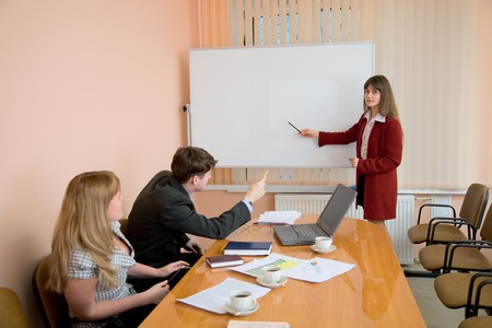 The young woman to speak at a meeting Stock Photo - 4525216