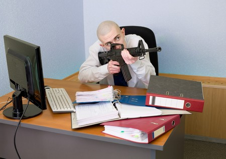 The chief accountant armed with a rifle photo