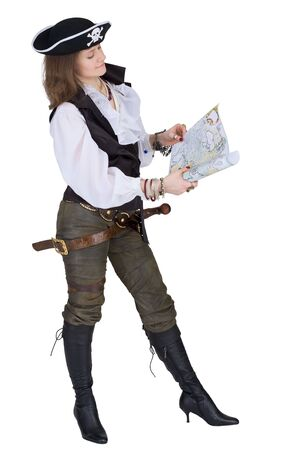 The pirate - young woman with ancient sea map photo