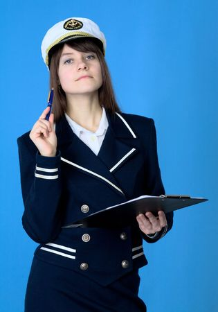 Girl in sea uniform with tablet and pen Stock Photo - 4650975