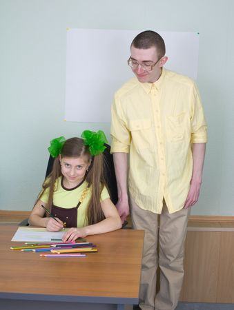 The girl and brother with color pencils Stock Photo - 4650997