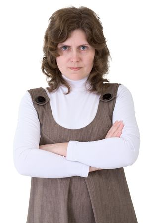 spiteful: Portrait angry woman on the white background