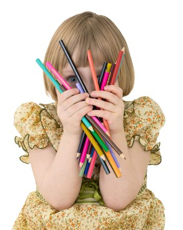 outrage: Little girl with crayons on the white background