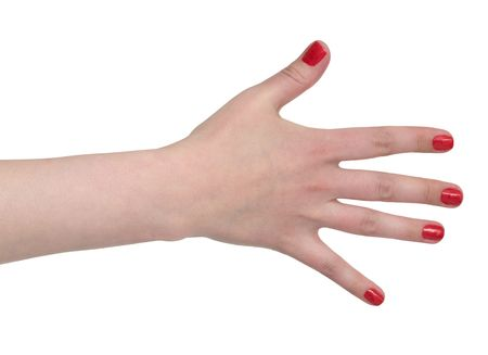 gaudy: Female hand with gaudy red manicure on the white Stock Photo