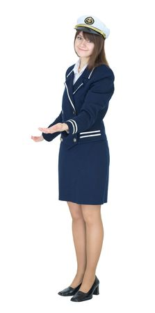 Woman in a sea uniform on white background photo