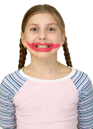 bared teeth: Girl with drawing smile clown on the white background
