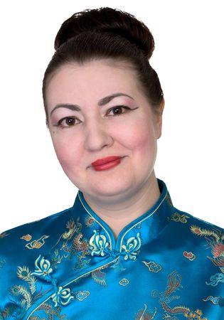 Portrait japanese girl on the white background photo