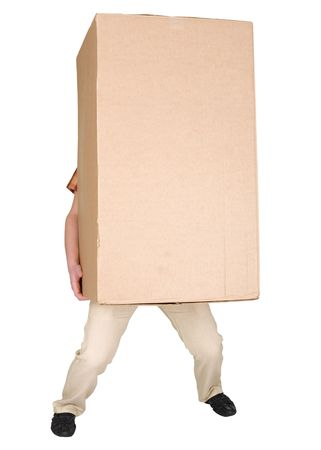 stockman: Man holding very heavy brown cardboard box on white Stock Photo