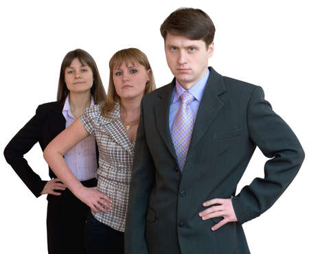 unsmiling: Team of businessmen from three persons