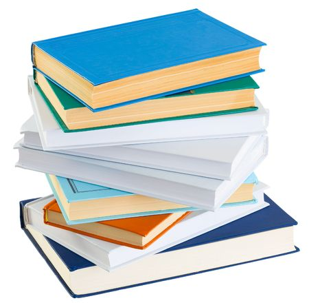 Pile of old books on a white background Stock Photo