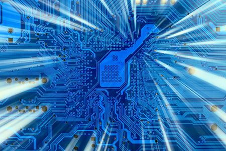 electronics industry: Hi-tech industrial electronic background with shaft of light Stock Photo