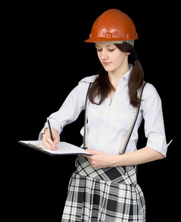 superintendent: Young woman in a helmet with a tablet in hands