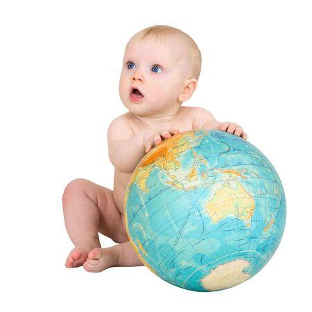 terrestrial globe: Baby and big terrestrial globe on the white
