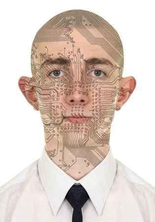 Person with a circuit computer skin on white background photo