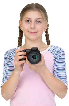 kiddy: Photographer girl on the white background