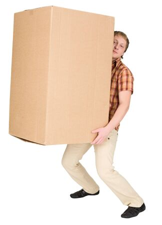 blinders: Young man bears the big heavy cardboard box on a back