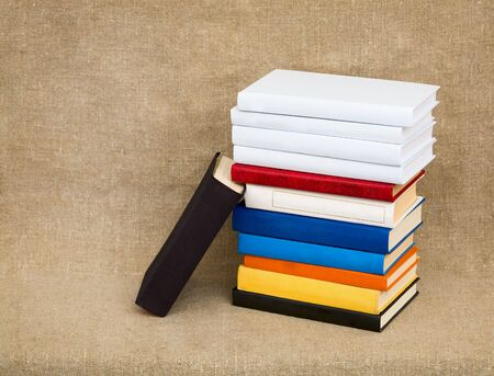 Multicolor books on the canvas background Stock Photo