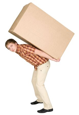 The young man bears the big box on a back Stock Photo - 4932698