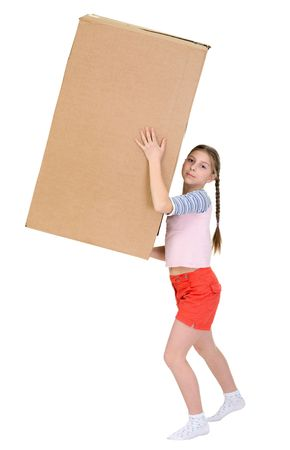 blinders: Girl with cardboard box on the white background