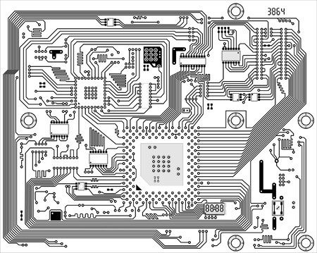 motherboard: Hi-tech black and white industrial electronic vector background