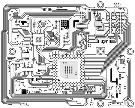 Salut-tech noir et blanc, vecteur d'information électronique industrielle Vecteurs
