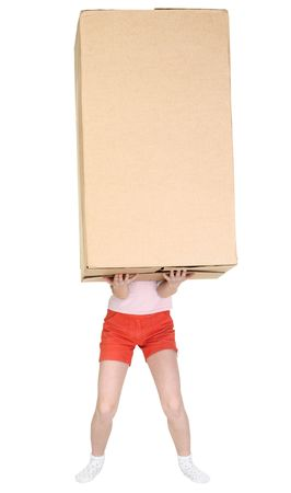 blinders: Child holds a huge box on hands Stock Photo