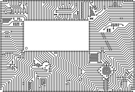 Hi-tech vector circuit board back - white blank frame Vector