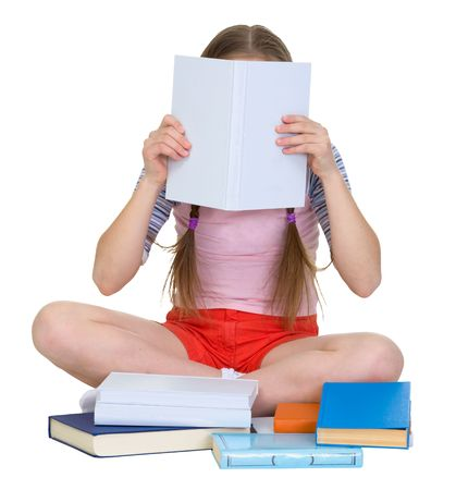 blinders: Girl reading the book on the white background