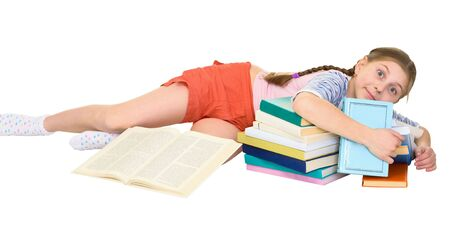 blinders: Girl and books on the white background Stock Photo
