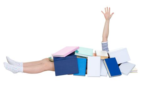 heap up: Schoolgirl heap up with books on the white background Stock Photo