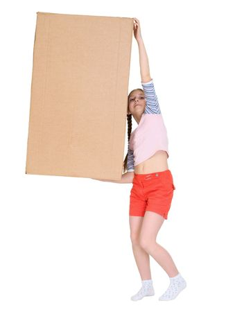 stockman: Girl holding very heavy brown cardboard box on the white