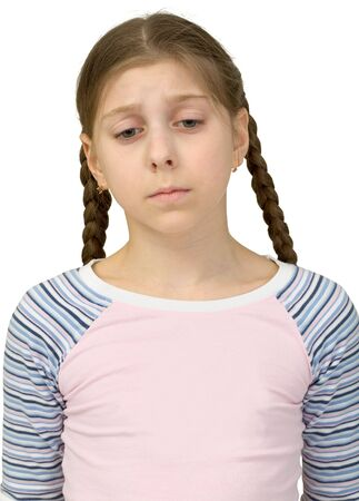 deplorable: Very sad teenager girl on the white background