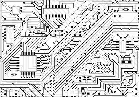 Hi-tech industrial electronic light black - white background photo