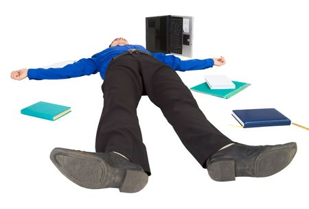 Businessman lies on a floor among the scattered things photo