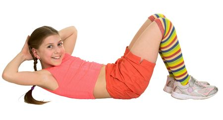 blinders: Girl does sports exercises on a white background Stock Photo