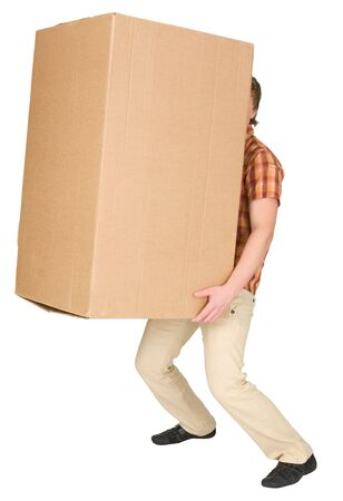 The young man bears the big box on a back photo