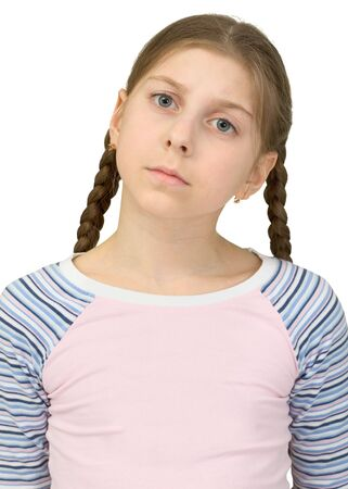 morose: Portrait of the little girl in a T-shirt on a white background