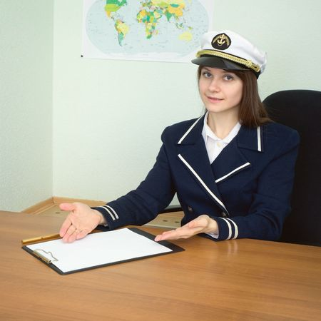 suggests: The captain suggests to sign the contract at office Stock Photo