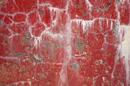 Red dirty cracked concrete wall background with stains Stock Photo - 5173456