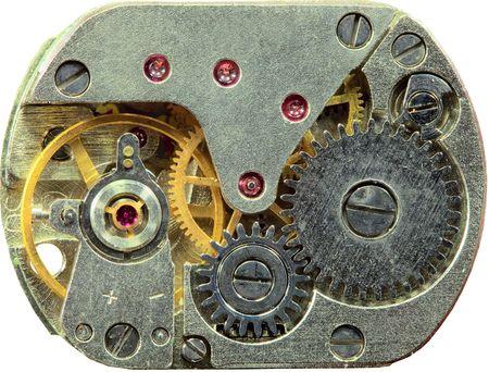 macrophoto: Macrophoto of a tiny old clockwork background Stock Photo